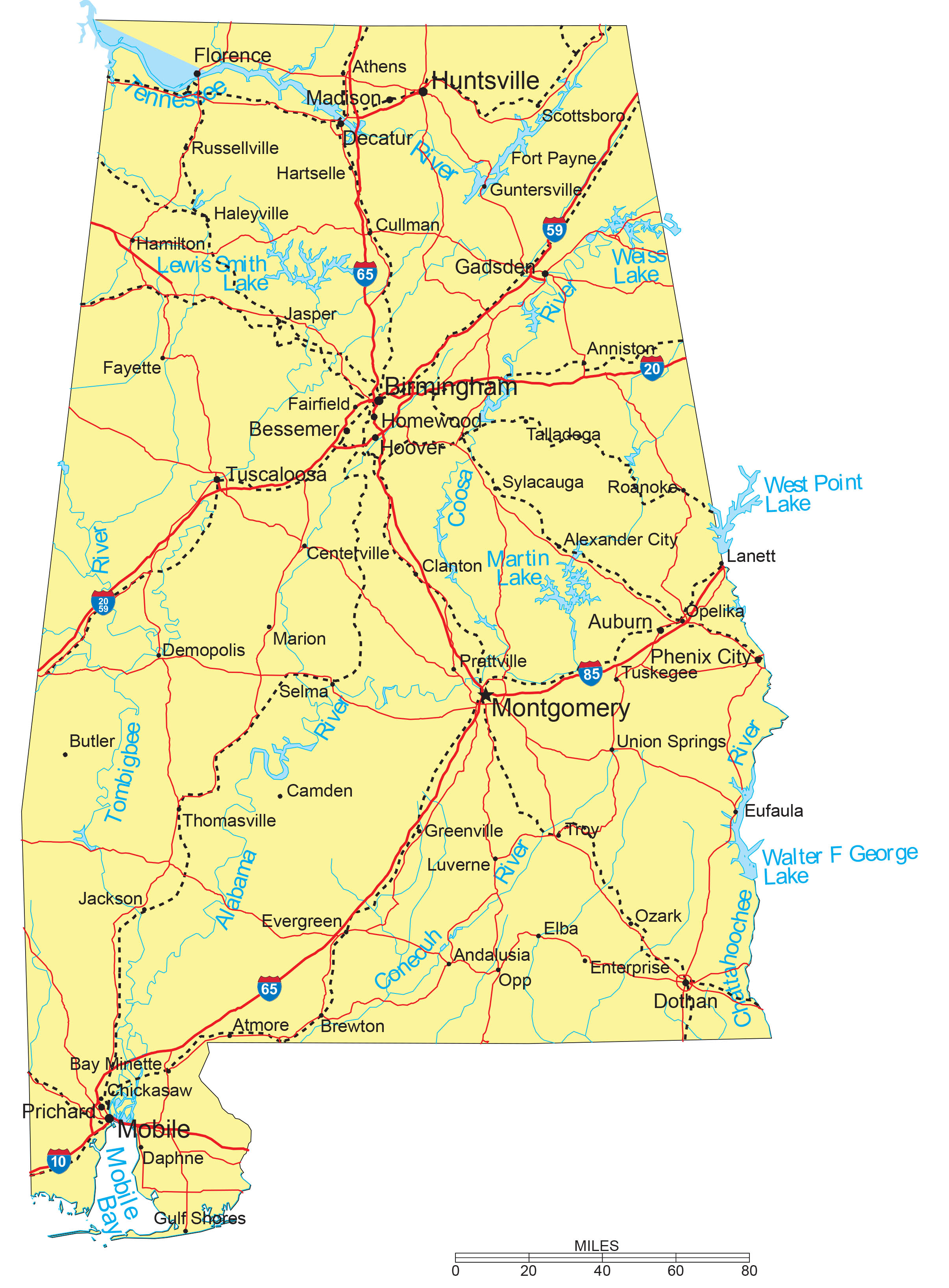 alabama-cities-roads-waterways Map Of Usa With Cities And Interstates on us road map with cities, interstate map of usa states, interstate map united states of america, us interstate map with cities,